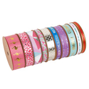 "9mm White/Multi ""Leave A Little Sparkle"" Printed Satin Ribbon"