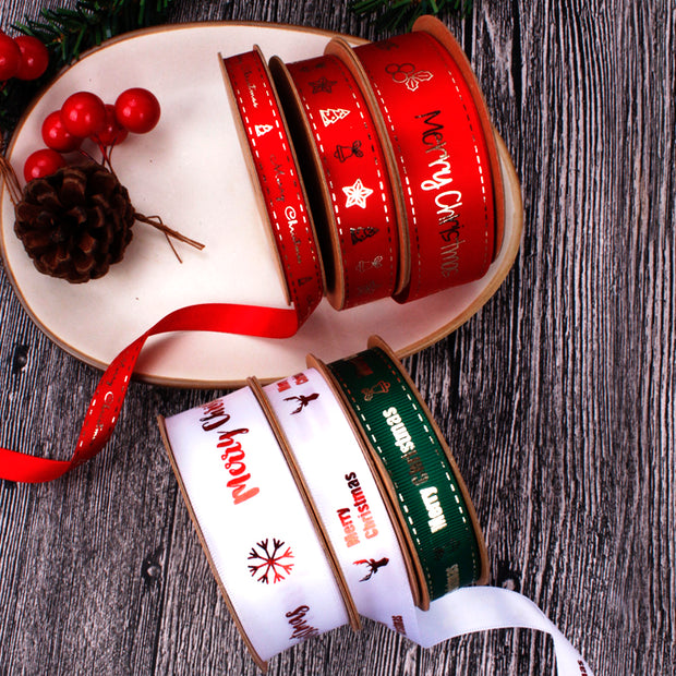 "9mm Red/Gold ""Merry Christmas"" Metallic Printed Satin Ribbon"