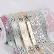 LaRibbons 16mm Aqua/Gold Metallic Chevron Printed Grosgrain Ribbon