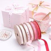 "16mm ""Believe in Yourself"" Printed Satin Ribbon Powder Pink/Gold"