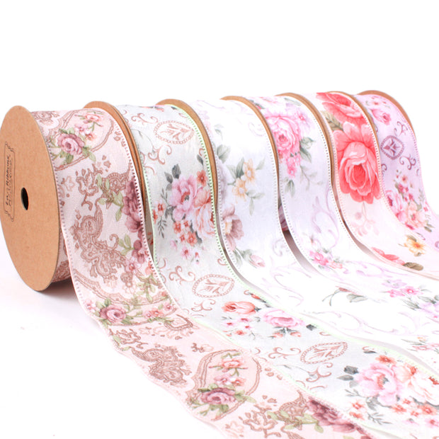 LaRibbons 40mm Peach/Multi Victorian Floral Ribbon