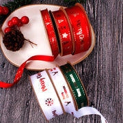 "16mm ""Merry Christmas"" Metallic Printed Satin Ribbon White/Red"