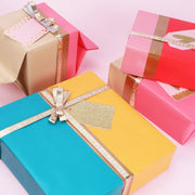 "Pink/Turquoise/Pumpkin/Gold ""Modern Stripe"" Wrapping Paper Roll"