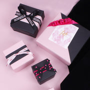"LaRibbons ""Black and Pink"" Printed Satin Ribbon Hot Pink/Black"