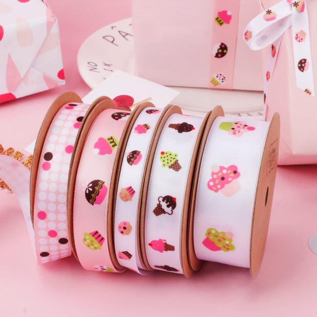 16mm Pink/Multi Satin Dot Printed Ribbon