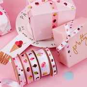16mm Pink/Multi Satin Cupcake Printed Ribbon