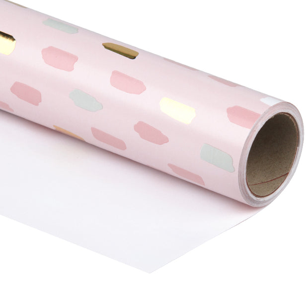 WRAPAHOLIC Wrapping Paper Roll- Pink and Gold Foil Brushstroke Design - 30inch x 16.5 Feet