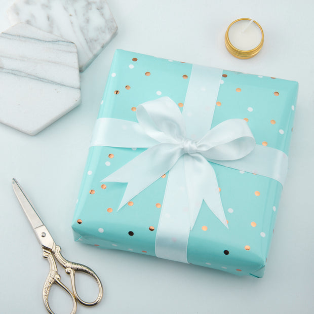 Metallic Polka Dot Wrapping Paper Roll- Mint/Gold Foil Dots Design - 30 inch x 16.5 feet