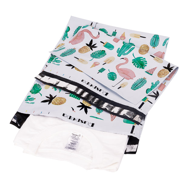RUSPEPA Poly Mailers 10x13 Shipping Bags 2.3 Mil Variety Pack - Summer, Flamingo, Floral, Feather Printed Self Seal Mailing Envelopes 40 PCS