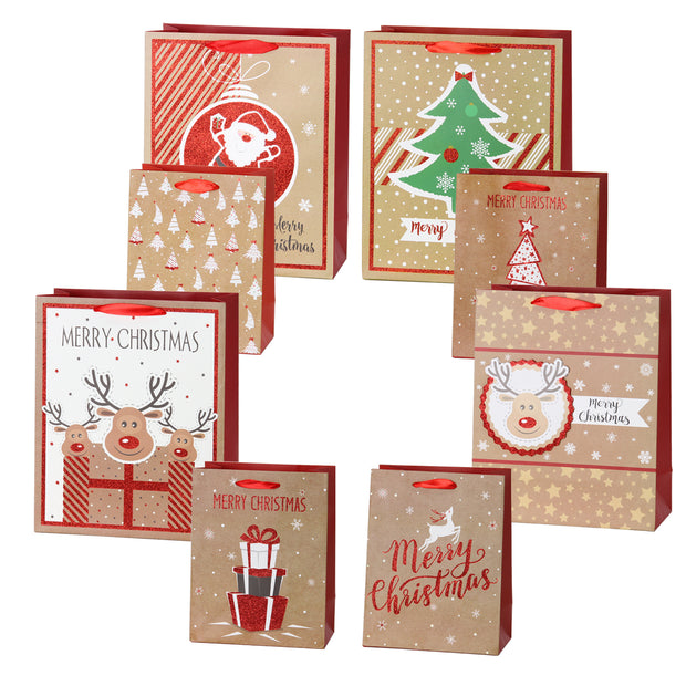 RUSPEPA Christmas Kraft Gift Bags - 8Pack Multiple Sizes