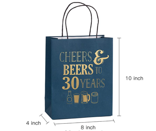 "WRAPAHOLIC Gift Bags - 12 Pack ""Cheers Beers to 30 Years"" Navy/Gold Paper Bags with Navy Tissue Paper 8"" x 4"" x 10"""