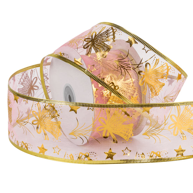 Sheer Wire Ribbon Pink with Gold Accents 2.5 Inch. x 25 Yards - 20% Off