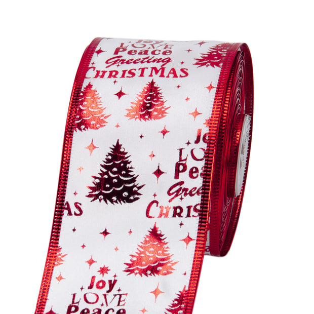 Sheer Wire Ribbon White/Red Xmas Theme  2.5 Inch. x 25 Yards