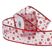 Sheer Wire Ribbon With Red Dot Accents 2.5 Inch. and 25 Yards