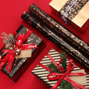"Metallic Foil Snowflake Holiday Wrapping Paper Black/Copper. - 30"" x 120"""