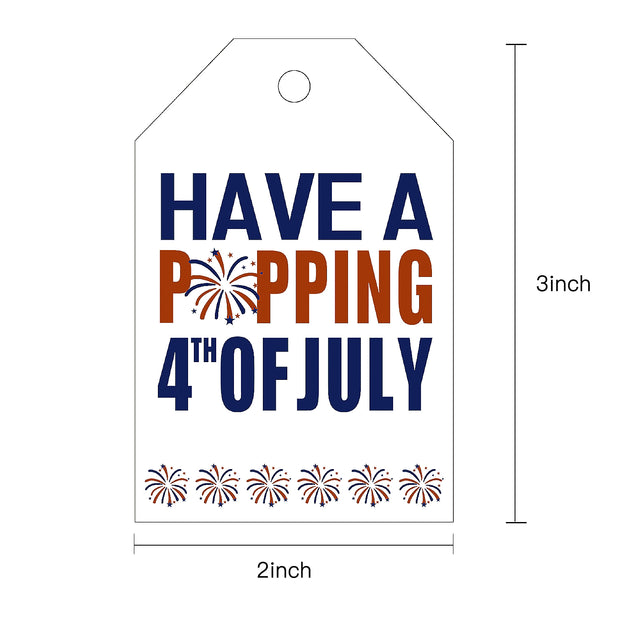 WRAPAHOLIC Gift Tags with String - 100pcs 4th of July Paper Tags w/ 100 Feet Natural Jute Twine