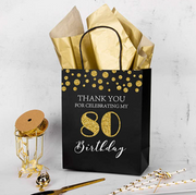 "WRAPAHOLIC Gift Bags 12 Pack ""Thank you for Celebrating My 80 Birthday"" Black/Gold Glitter Paper Bags with Gold Tissue Paper 8"" x 4"" x 10"""