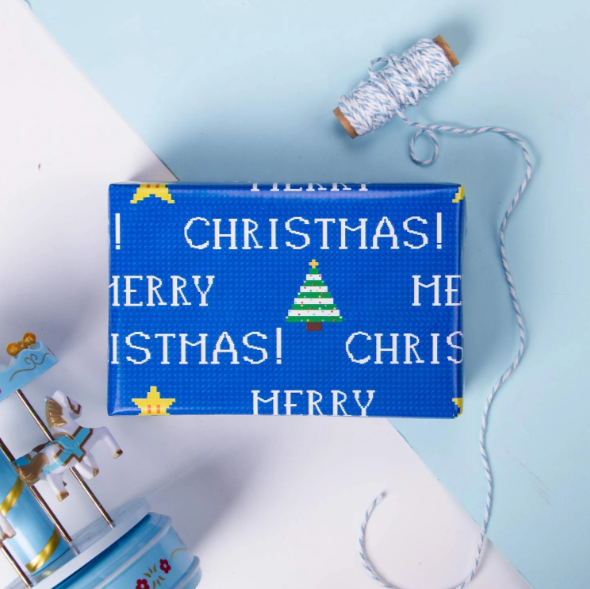 Blue video game pixel style Christmas wrapped gift
