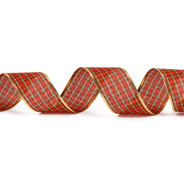 Sheer Wire Ribbons Plaid Red/Green/Gold  2.5 Inch x 25 Yards