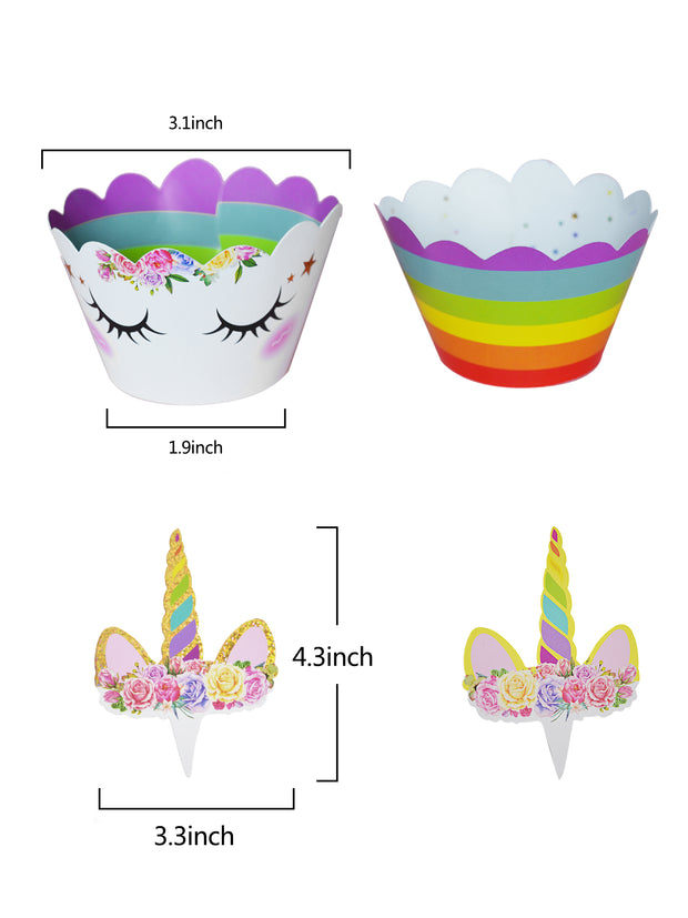 LaRibbons Unicorn Cake Topper Decor,Headband,Satin Sash,Unicorn Plates,Cupcake Wrappers and Happy Birthday Banner Unicorn Birthday Party SetDecoration