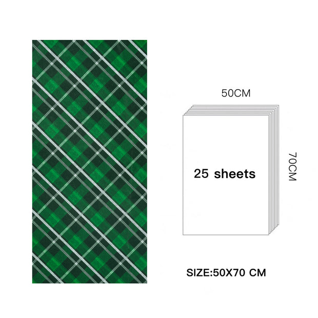 WRAPAHOLIC Christmas Wrapping Tissue Paper - 25 Sheets Classic Green and White Plaid Design Paper Bulk for Packing, DIY Crafts - 19.7x27.5 inch