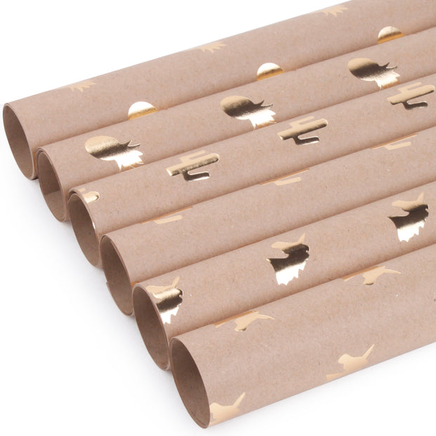 Brown kraft gold foil printed wrapping paper rolls