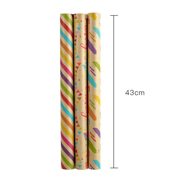 RUSPEPA Happy Birthday Wrapping Paper Rolls with Tags, Stickers and Jute String - 17 inches x 10 feet per Roll, Total of 3 Rolls, Birthday