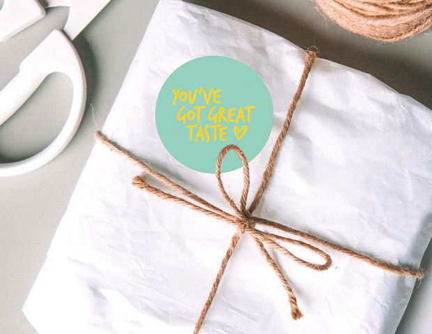 """You've Got Great Taste"" 2"" x 2"" Sticker Roll- Turquoise/Gold Foil - 500 Stickers/Roll"