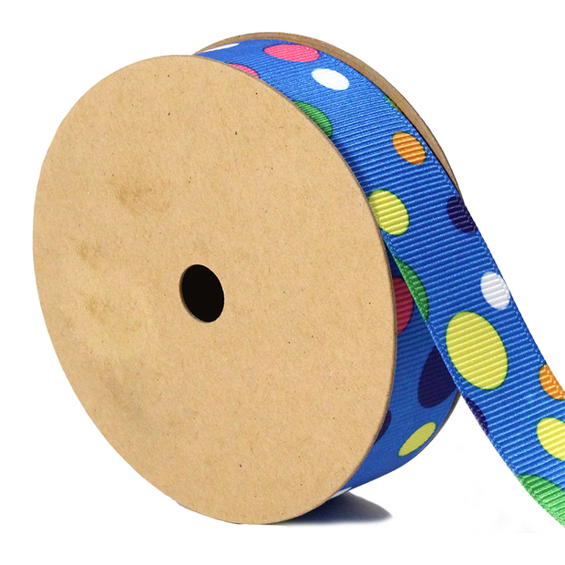 7/8 inch blue multi color polka dot ribbon