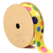 7/8 inch yellow multi color polka dot ribbon