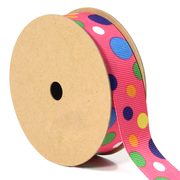 7/8 inch hot pink multi color polka dot ribbon