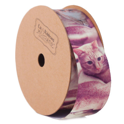 LaRibbons 25mm Rose/Multi Cute Cat Printed Ribbon
