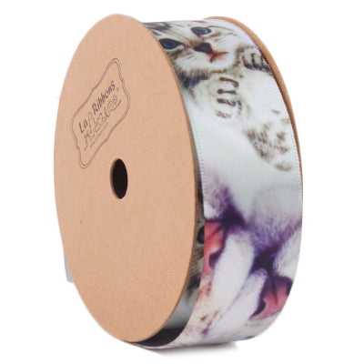 LaRibbons 25mm White/Multi Cute Cat Printed Ribbon
