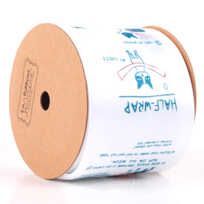 White dog theme printed satin ribbon