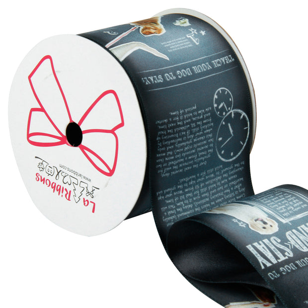63 millimeter black and white dog theme printed ribbon