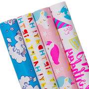 Pink and blue unicorn theme wrapping paper four roll pack
