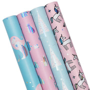 Pink and blue mermaid and unicorn printed wrapping paper four roll pack