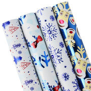 Blue christmas theme wrapping paper four roll pack