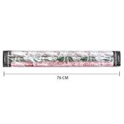 Green, white and pink floral wrapping paper rolls with dimensions