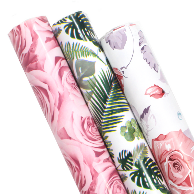 Green and pink floral wrapping paper three roll pack
