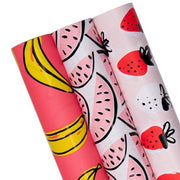 "Strawberry/Watermelon/Banana Wrapping Paper 30"" x 120"" 3 Roll Pack"