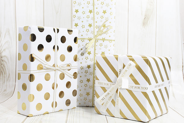 White/Gold Elegant Stripes/Stars/Dots Wrapping Paper - 3 Roll Pack