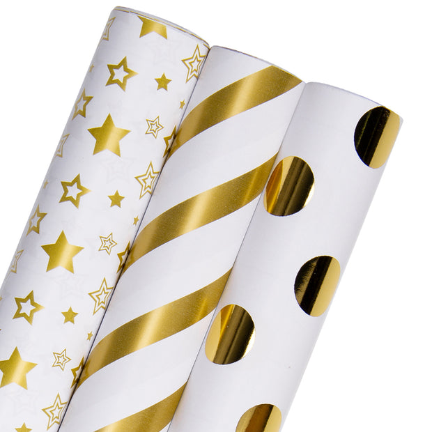 White and gold metallic foil geometric wrapping paper three roll pack