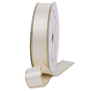 Antique white and gold metallic edge satin ribbon