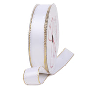 White and gold metallic edge satin ribbon