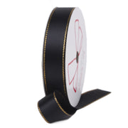 Black and gold metallic edge satin ribbon