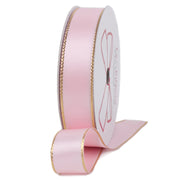 Pink and gold metallic edge satin ribbon