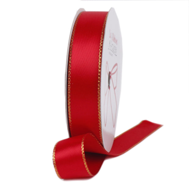 Red and gold metallic edge satin ribbon