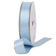 Blue topaz and gold metallic edge satin ribbon