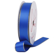 Electric blue and gold metallic edge satin ribbon